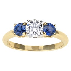 Tiffany & Co. Sapphire and Diamond Gold Platinum Ring