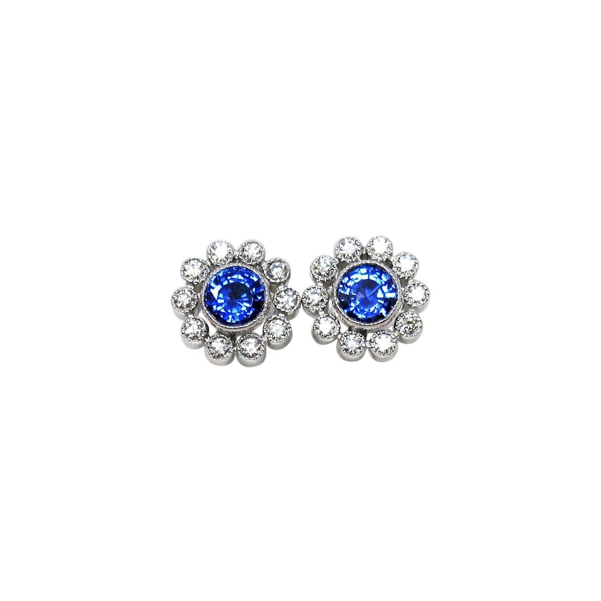 Tiffany & Co. Sapphire and Diamond Halo Stud Earrings Platinum .80 Carats Total