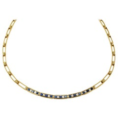 Tiffany & Co. Sapphire and Diamond Open Link Choker Necklace 18k Yellow Gold