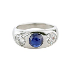 Tiffany & Co. Sapphire and Diamond Ring in Platinum from Gatsby-Era