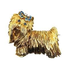 Tiffany & Co. Sapphire and Diamond Yorkie Dog Brooch Yellow Gold, Circa 1960
