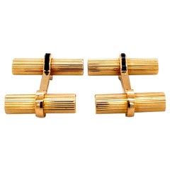Tiffany & Co. Sapphire Cufflinks, 14 Karat Yellow Gold