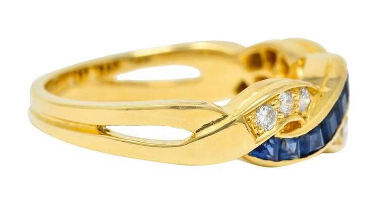 Contemporary Tiffany & Co. Sapphire Diamond 18 Karat Gold Interlaced Band Ring For Sale