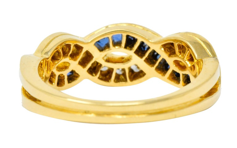 Brilliant Cut Tiffany & Co. Sapphire Diamond 18 Karat Gold Interlaced Band Ring For Sale