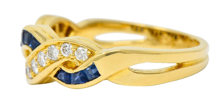 Tiffany & Co. Sapphire Diamond 18 Karat Gold Interlaced Band Ring In Excellent Condition For Sale In Philadelphia, PA