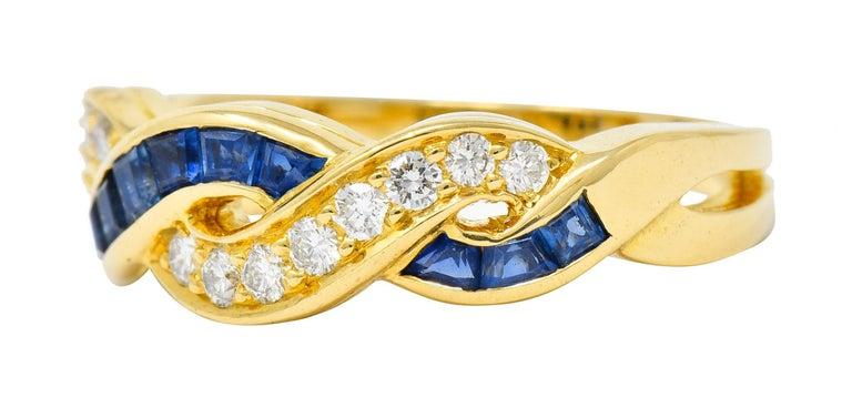 Women's or Men's Tiffany & Co. Sapphire Diamond 18 Karat Gold Interlaced Band Ring For Sale