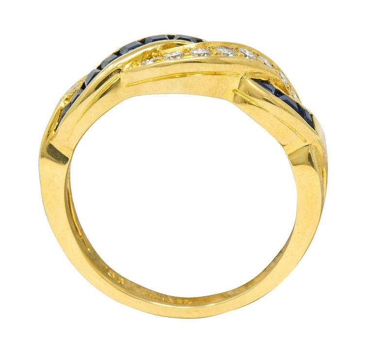 Tiffany & Co. Sapphire Diamond 18 Karat Gold Interlaced Band Ring For Sale 1