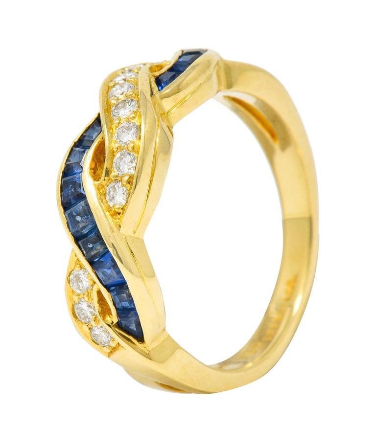 Tiffany & Co. Sapphire Diamond 18 Karat Gold Interlaced Band Ring For Sale 2