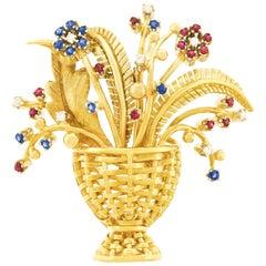 Tiffany & Co. Sapphire, Diamond and Ruby-Set Basket of Flowers Brooch