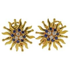 Tiffany & Co. Sapphire Diamond Gold Earrings