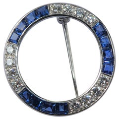Tiffany & Co. Sapphire Diamond Platinum 1950s Wreath Brooch