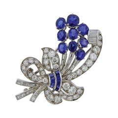 Tiffany & Co. Sapphire Diamond Platinum Brooch Pin