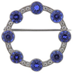 Tiffany & Co. Montana Sapphire Diamond Platinum Circle Brooch with GIA cert