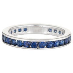 Tiffany & Co. Sapphire Eternity Ring Band Estate Platinum Signed Jewelry