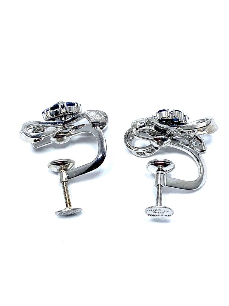Modern Tiffany & Co. Sapphire Flower and Diamond Bow Palladium Earrings