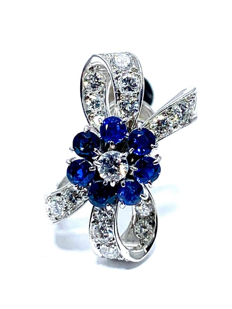 Tiffany & Co. Sapphire Flower and Diamond Bow Palladium Earrings 1