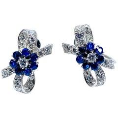 Tiffany & Co. Sapphire Flower and Diamond Bow Palladium Earrings