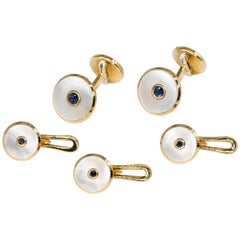 Tiffany & Co. Sapphire, Mother-of-Pearl and Yellow Gold Cufflinks and Stud Set