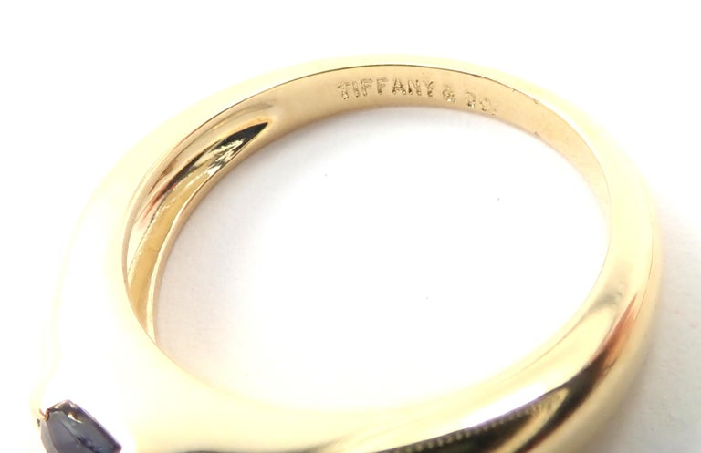 Tiffany & Co Sapphire Yellow Gold Band Ring For Sale 3