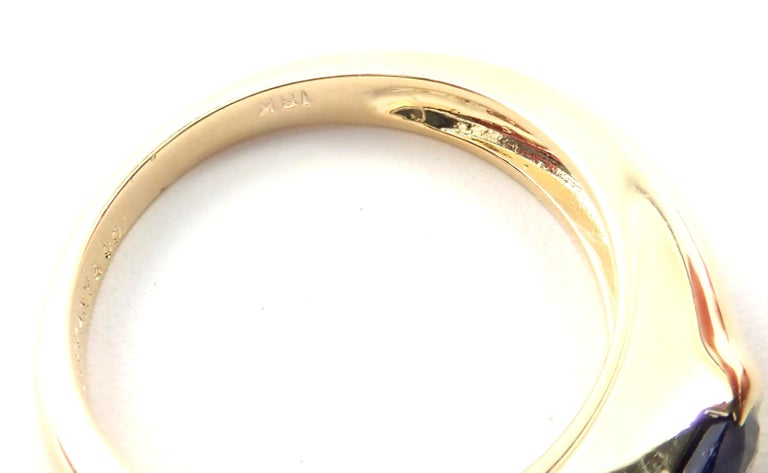 Tiffany & Co Sapphire Yellow Gold Band Ring For Sale 4