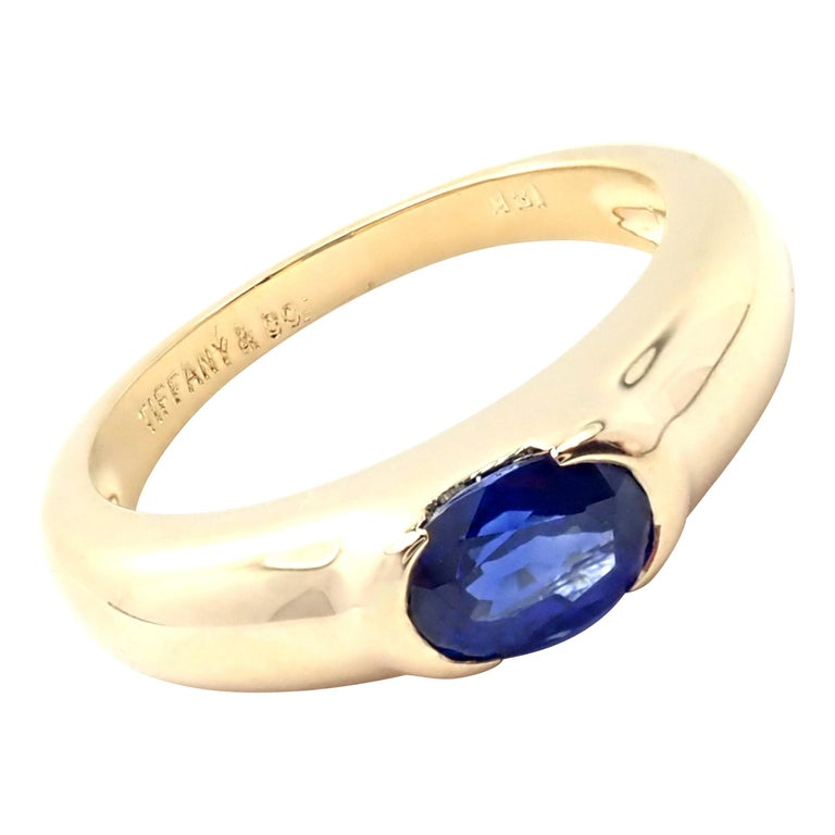 Tiffany & Co Sapphire Yellow Gold Band Ring For Sale