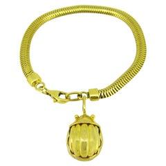 Tiffany & Co. Scarab Yellow Gold Charm Pendant Bracelet, 1993