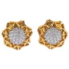 Tiffany & Co Schlauberger Diamond Platinum Gold Earrings