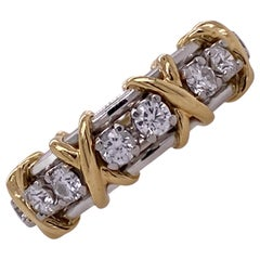 Tiffany & Co. Schlumberger 16 Stone Diamond Band Ring 18 Karat Gold Platinum