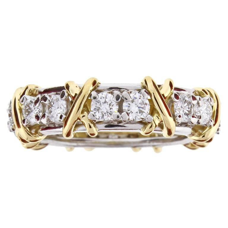 9c6f268dd Tiffany and Co. Schlumberger 16-Stone Diamond Gold X-Ring at 1stdibs