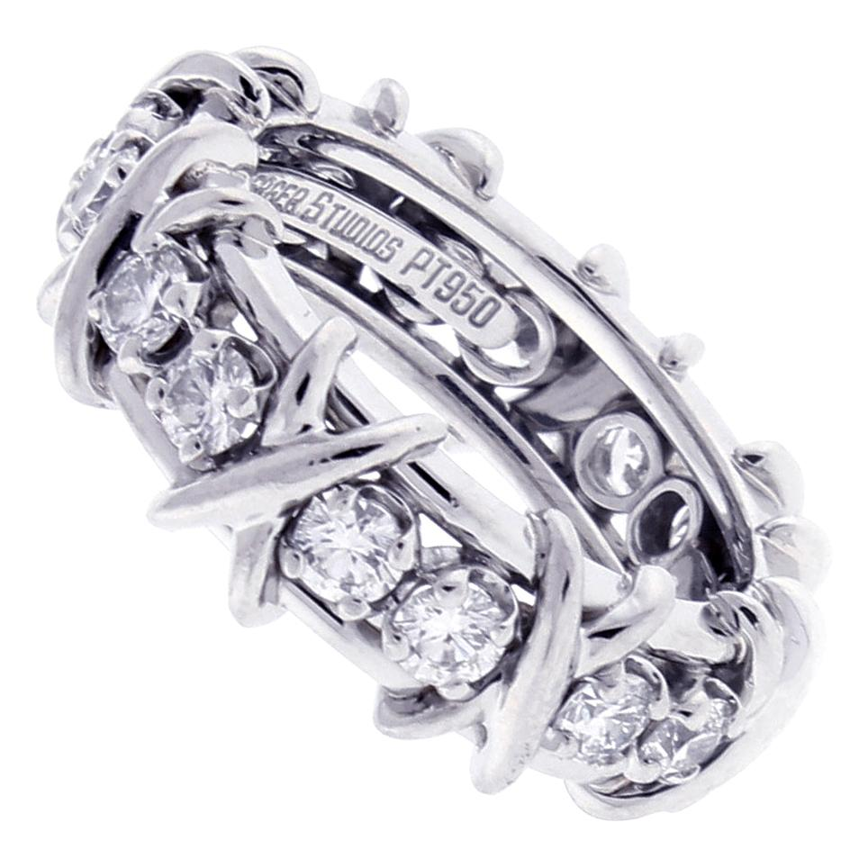 Tiffany & Co. Schlumberger 16-Stone Diamond Platinum X-Ring