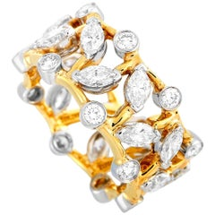 Tiffany & Co. Schlumberger 18K Gold & Platinum 3.00 ct Marquise Diamond Ring