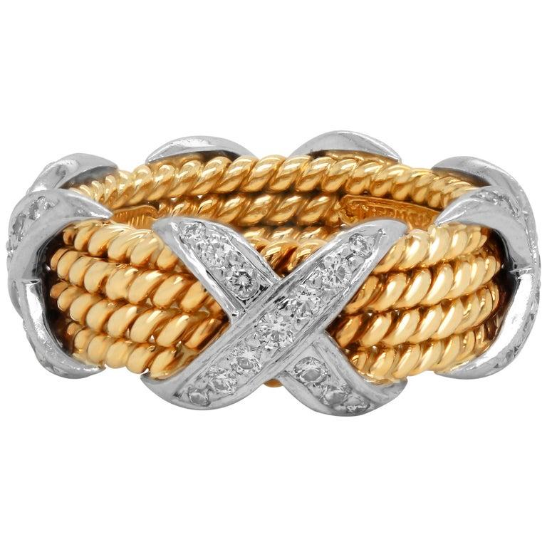 Tiffany & Co. Schlumberger 18 Karat Gold Platinum Diamonds Rope Four-Row X Ring For Sale