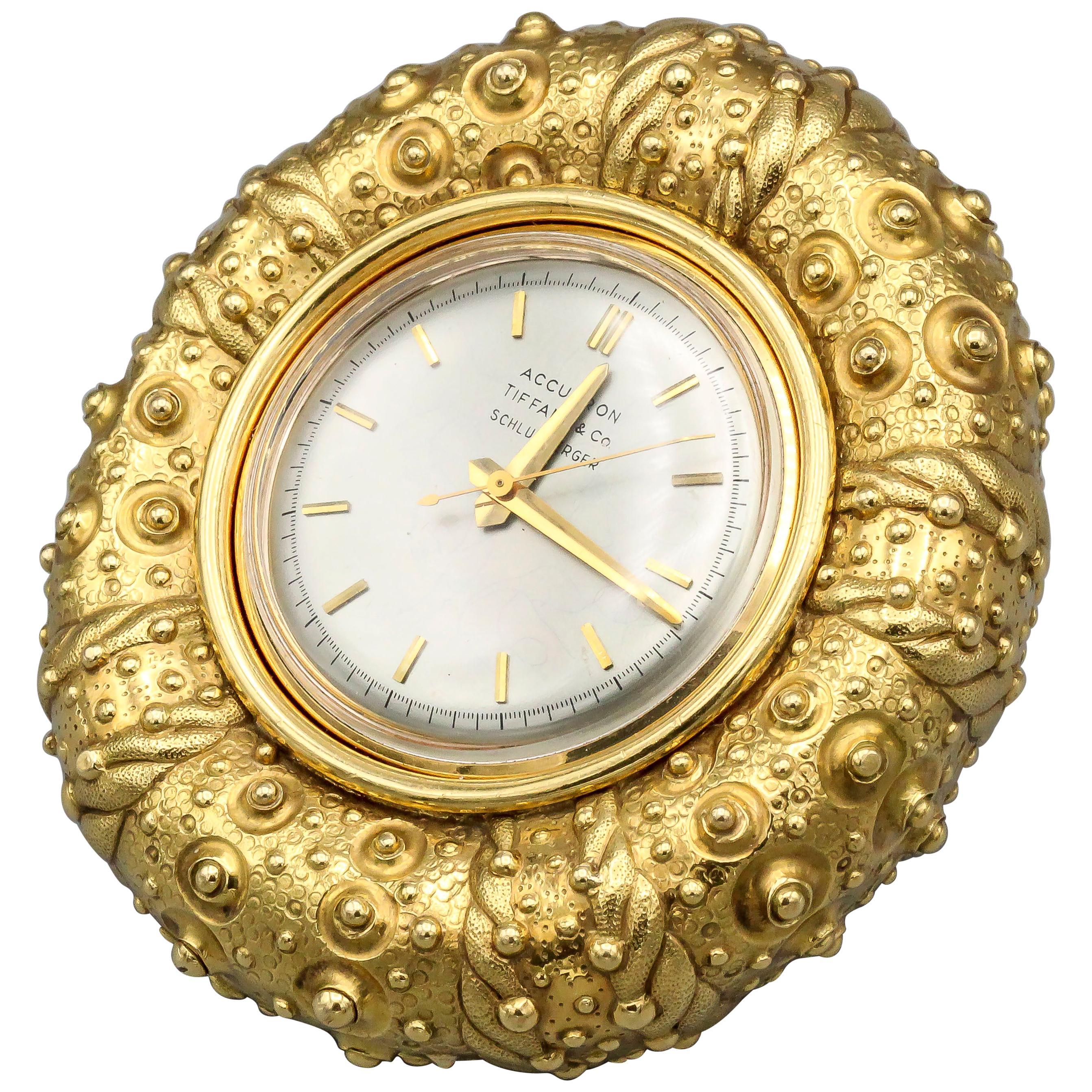Tiffany & Co. Schlumberger 18 Karat Gold Sea Urchin Clock