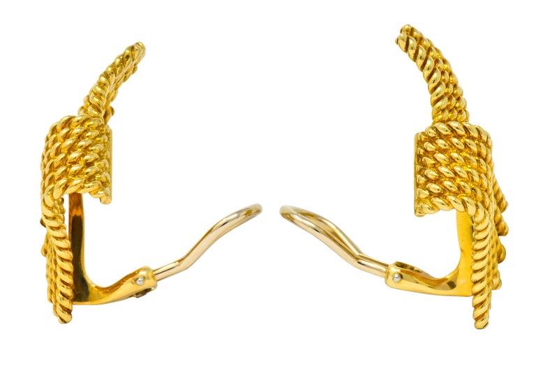 Modernist Tiffany & Co. Schlumberger 18 Karat Gold Strand Ear-Clip Earrings For Sale
