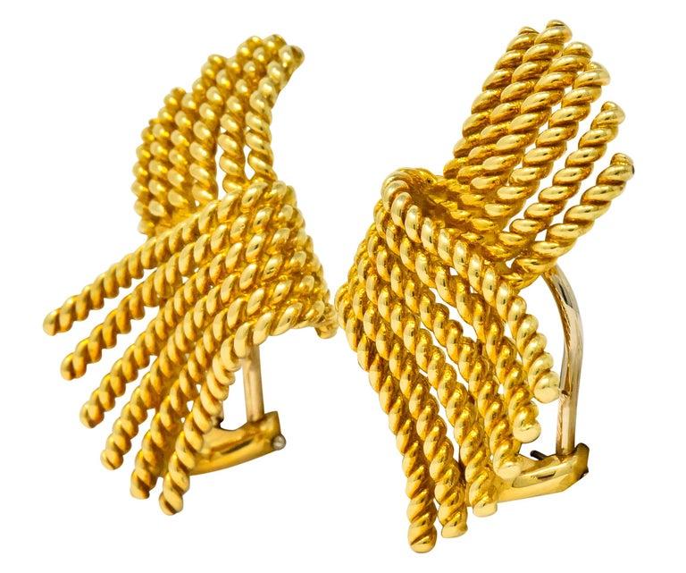 Women's or Men's Tiffany & Co. Schlumberger 18 Karat Gold Strand Ear-Clip Earrings For Sale