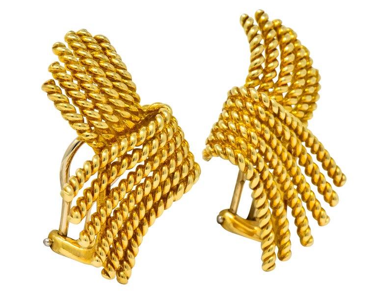 Tiffany & Co. Schlumberger 18 Karat Gold Strand Ear-Clip Earrings For Sale 1