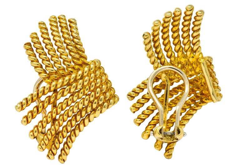 Tiffany & Co. Schlumberger 18 Karat Gold Strand Ear-Clip Earrings For Sale 2
