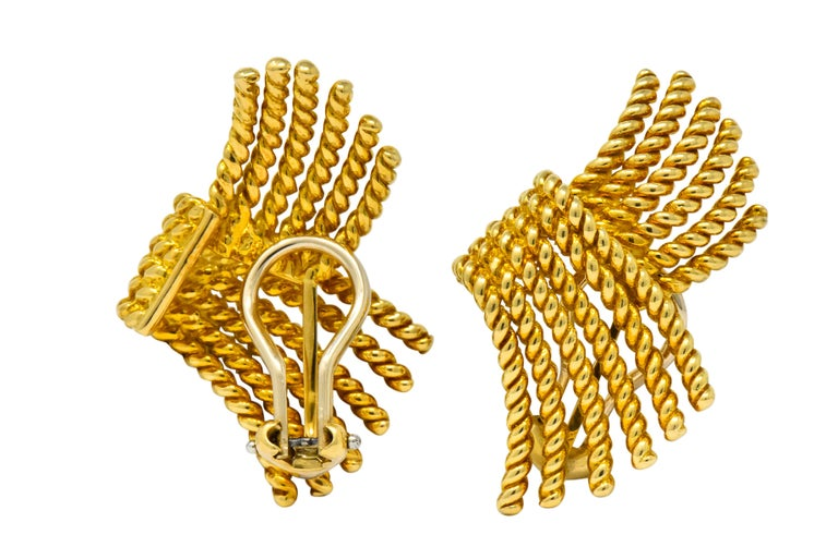 Tiffany & Co. Schlumberger 18 Karat Gold Strand Ear-Clip Earrings For Sale 3
