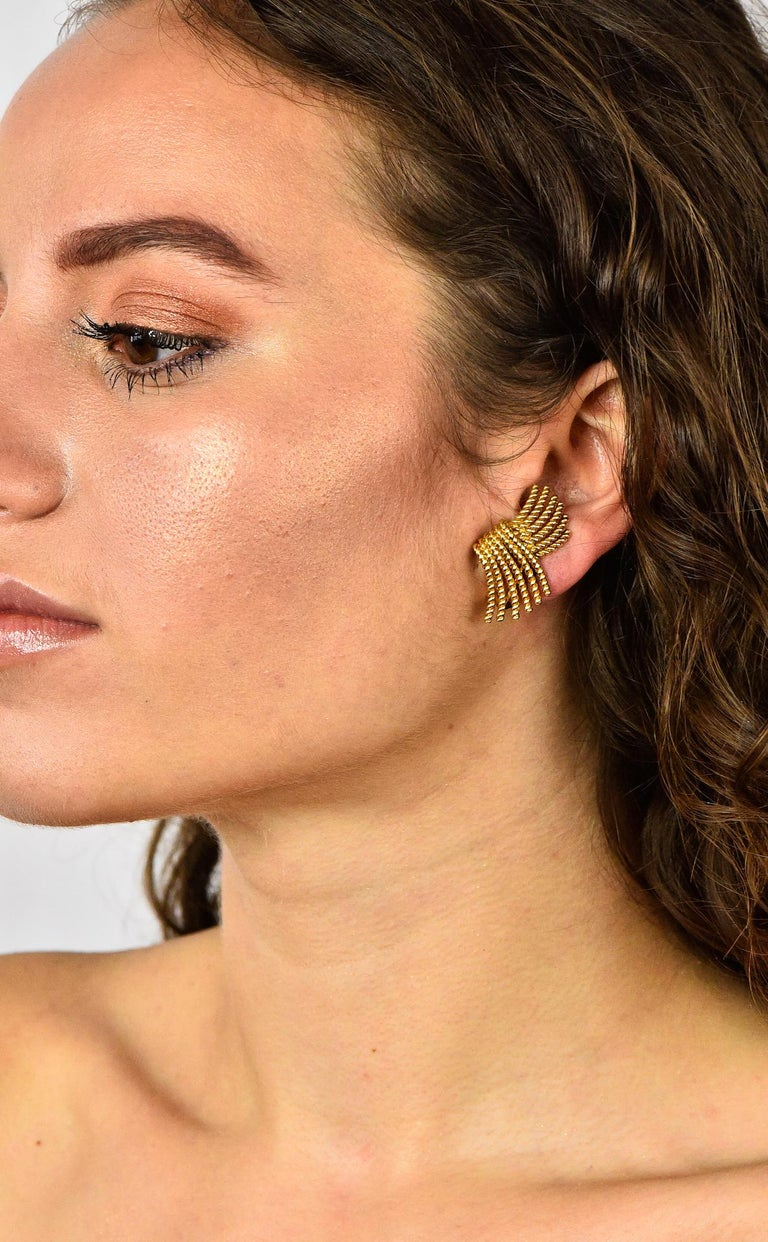 Tiffany & Co. Schlumberger 18 Karat Gold Strand Ear-Clip Earrings For Sale 4