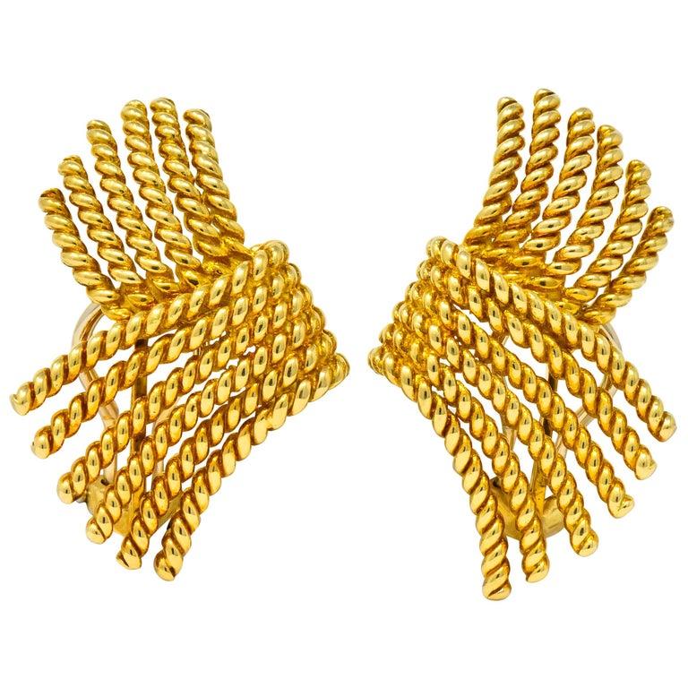 Tiffany & Co. Schlumberger 18 Karat Gold Strand Ear-Clip Earrings For Sale