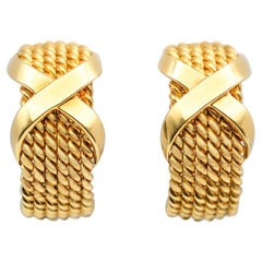 "Tiffany & Co Schlumberger 18 Karat Gold ""X"" Half-Hoop Ear Clips"
