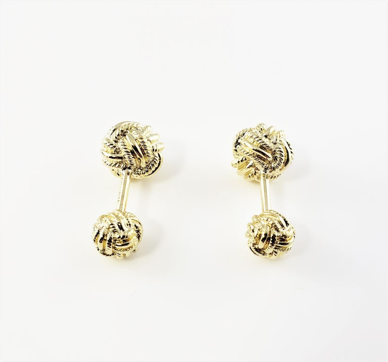 Vintage Tiffany & Co. Schlumberger 18 Karat Yellow Gold Knot Cufflinks-  These timeless knot cufflinks are crafted in exquisitely detailed 18K yellow gold by Jean Schlumberger for Tiffany & Co.  Size: 12 mm (larger knot) 8 mm (smaller knot)  Weight: