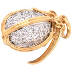 Tiffany & Co. Schlumberger 18 Karat Yellow Gold Diamond Egg Pendant