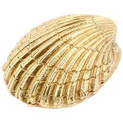 Tiffany & Co. Schlumberger 18 Karat Yellow Gold Seashell Pill Box