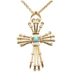 Tiffany & Co. Schlumberger 18 Karat Yellow Gold Turquoise Wire Cross Necklace