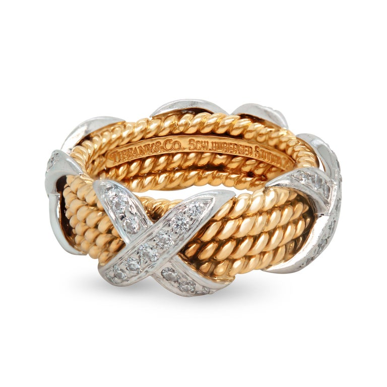 Tiffany & Co. Schlumberger 18K Gold Platinum Diamonds Rope Four-row X Ring  0.54 carat G color, VS clarity diamonds total weight  The four row rope, X ring.  $7,500 MSRP by Tiffany & Co.  8.2mm band width.  Size 6. Ring is in mint condition.