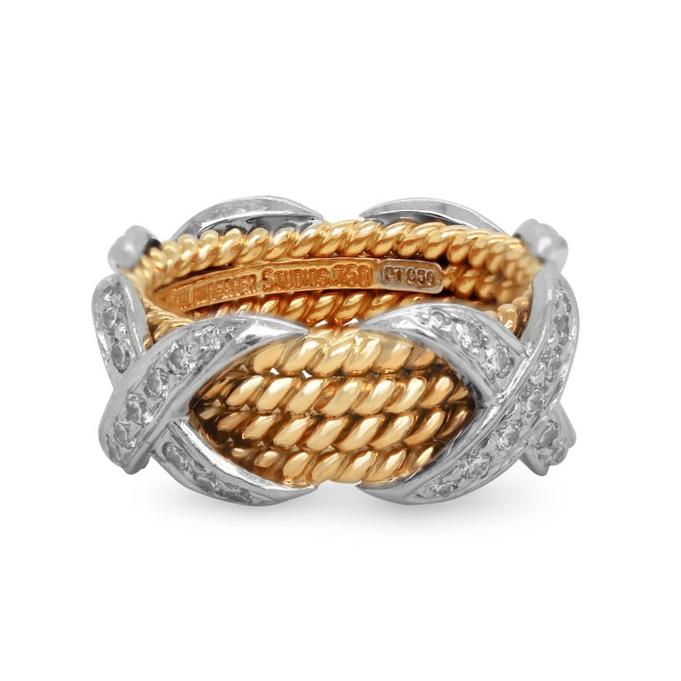 Contemporary Tiffany & Co. Schlumberger 18 Karat Gold Platinum Diamonds Rope Four-Row X Ring For Sale