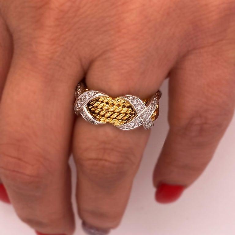 Round Cut Tiffany & Co. Schlumberger 18 Karat Gold Platinum Diamonds Rope Four-Row X Ring For Sale