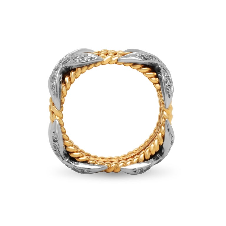 Tiffany & Co. Schlumberger 18 Karat Gold Platinum Diamonds Rope Four-Row X Ring In Excellent Condition For Sale In Boca Raton, FL