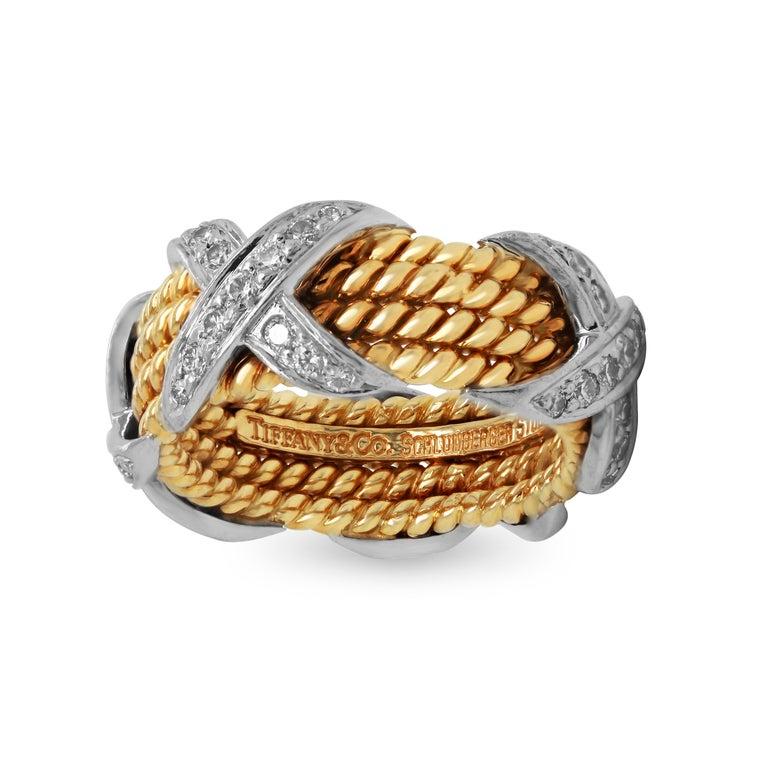 Women's Tiffany & Co. Schlumberger 18 Karat Gold Platinum Diamonds Rope Four-Row X Ring For Sale